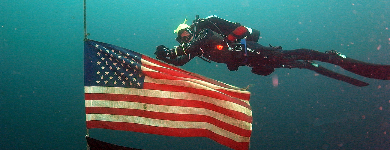 Diver and flag
